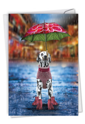 Raining Dogs - Alone, Printed Miss You Note Card - C6823HMYG