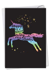 C6826IBD - Horns and Unicorns - Rainbow Cake: Paper Card