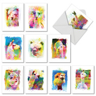 AM6862OC - Funky Rainbow Llamas: Mini Mixed Set of 10 Cards