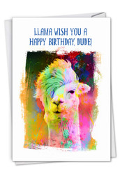 C6862EBD - Funky Rainbow Llamas: Greeting Card