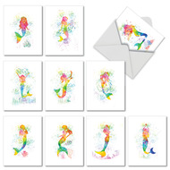 AM6863OC - Funky Rainbow Mermaids: Mini Assorted Set of 10 Cards