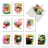 AM6866OC - Funky Rainbow Sloth: Mini Assorted Set of 10 Cards