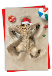 C6844BXS - Holiday Sand Angels - Cat: Note Card