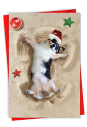 C6844FXS - Holiday Sand Angels - Dog: Paper Card