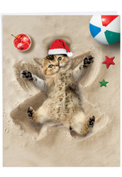 J6844BXS - Holiday Sand Angels - Cat: Giant Printed Card