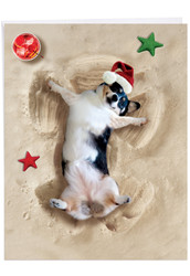J6844FXS - Holiday Sand Angels - Dog: Over-sized Paper Card