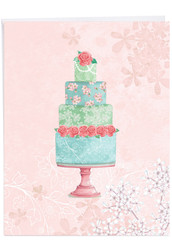 Watercolor Cake, Jumbo Wedding Congratulations Greeting Card - J2984FWDG-US