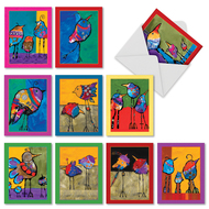 Bohemian Birds, Assorted Set Of Mini Thank You Greeting Cards - AM3319TYG