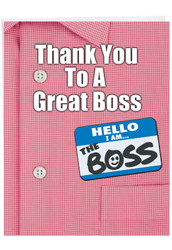 J9108BO - Thank You to a Great Boss: Over-sized Paper Card