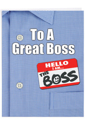 J9108BO - Thank You to a Great Boss: Jumbo Note Card
