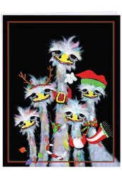 J2914CXS - Merry Ostriches - Group: Giant Note Card