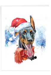 J2915FXS - Merry Mutts - Doberman: Extra Large Greeting Card