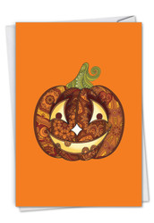 C2922CHW - Artful Pumpkins - Smiling: Greeting Card