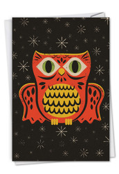 C7034EHW - Halloween Masks - Owl: Printed Card