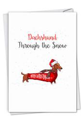 Punny Holidays - Dachshund, Printed Christmas Greeting Card - C7122JXSG