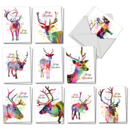 AM7377XS - Funky Rainbow Reindeer: Mini Mixed Set of Cards