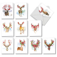 Blooming Reindeer, Assorted Set Of Mini Christmas Thank You Note Cards - AM7378XTG