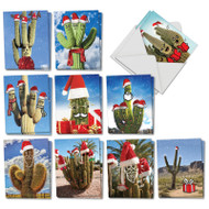 Santa's Cactus, Assorted Set Of Mini Christmas Thank You Greeting Cards - AM7379XTG