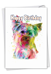Funky Rainbow Dogs - Terrier, Printed Birthday Greeting Card - C7162ABDG