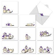 M2966 - Purple Purrs: Assorted Set of 10 Cards