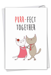Cat Got Your Tongue - Purr-Fect Together, Printed Anniversary Greeting Card - C7183IANG