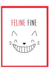 Cat Got Your Tongue - Feline Fine, Jumbo Get Well Note Card - J7183DGWG-US