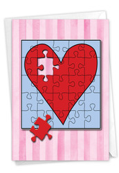 Jigsaw Hearts, Printed Valentine's Day Greeting Card - C3181JVDG