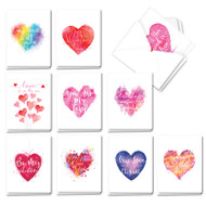 Line Heart, Assorted Set Of Mini Valentine's Day Note Cards - AM3182VDG