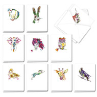 AM3369OC - Blooming Animals: Mini Mixed Set of Cards