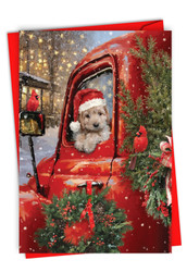 Red Truck Puppies, Printed Christmas Note Card - C3375EXS