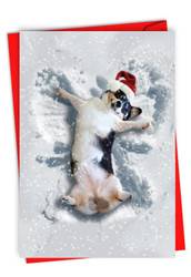 C4187FXS - Critter Snow Angels - Dog: Printed Card