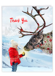 Patterned Animals - Reindeer, Extra Large Christmas Thank You Greeting Card - J2940GXTG