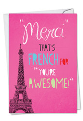 C2567TY - Merci You'Re Awesome Thank You Funny Paper Card: Note Card