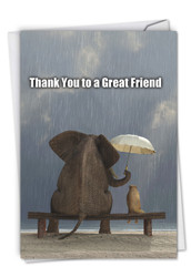 C9106TY - Thank You To A Great Friend Thank You Joke Paper Card: Note Card