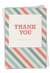 C9130TY - Candy Stripe Thank You Thank You Humor Paper Card: Paper Card