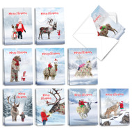 Patterned Animals, Assorted Set Of Mini Christmas Note Cards - AM2940XSG