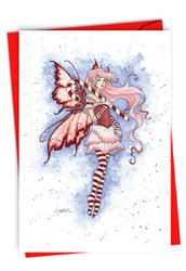 Holiday Fairies - Candy Cane, Printed Christmas Greeting Card - C3371CXS