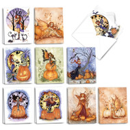 Fall Fairies, Assorted Set Of Mini Halloween Greeting Cards - AM3372HWG