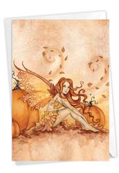 C3372AHW - Fall Fairies - Pumpkins and Leaves: Note Card