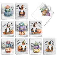 Gnomes And Pumpkins, Assorted Set Of Mini Halloween Note Cards - AM3374HWG