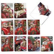 Red Truck Puppies, Assorted Set Of Mini Christmas Greeting Cards - AM3375XSG