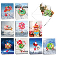 Donut Ho Ho Holes, Assorted Set Of Mini Christmas Greeting Cards - AM3489XSG