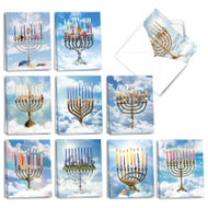 Animalistic Menorahs, Assorted Set Of Mini Hanukkah Greeting Cards - AM3495HKG