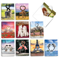 Loving Animals, Assorted Set Of Mini Valentine's Day Greeting Cards - AM3504VDG