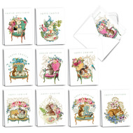 AM3513EA - Victorian Blooms and Bunnies : Mini Mixed Set of Cards