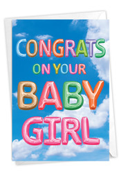 C5651LBB - Inflated Messages - Baby Girl: Note Card