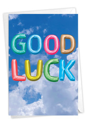 Inflated Messages, Printed Good Luck Note Card - C5651SGLG