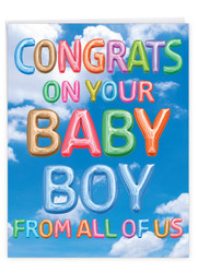 J5651KBB - Inflated Messages - Baby Boy: Over-sized Paper Card