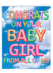 J5651LBB - Inflated Messages - Baby Girl: Jumbo Note Card