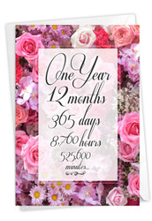 1 Year Time Count, Printed Milestone Anniversary Note Card - C9083MAG